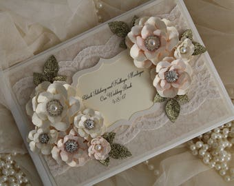 Blush pink and gold lace wedding guest book, vintage wedding, lace wedding, special occasion guestbook,Personalise with any words or colour!