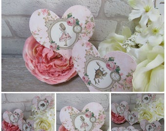 8 Alice in Wonderland Floral Heart Table Cards Tags Decoration,Wedding,Party,Table Decor, Gift tags,Crafts,Cardmaking