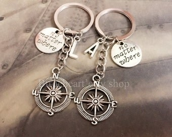 Compass Keychain, Friendship Keychains,Best Friend Keychain, No Matter Where Friends Keychain,Personalized Friendship gift, Initial Keychain