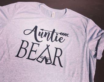 Auntie bear. Aunt life. Auntie bear shirt. 1st birthday. One year old birthday.