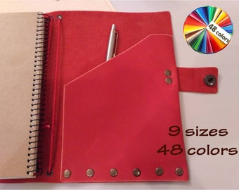 Composition notebook cover leather book notepad holder a5 planner CHOICE of 15 SIZES and 27 colors of genuine leather