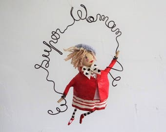 FIGURINE woman super woman sculpture wire and paper gift for her unique and unusual