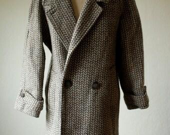 Womens Wool Coat Large Eighties Marled Wool / Vintage Womens Wool Coat Large / Gray Wool Coat Vintage 1980s / Womens Minimal
