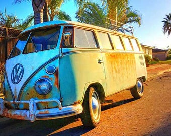 California Dreaming VW Surf Van with Palm Trees photo 8x10 prints