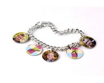 5 Charm Photo Bracelet - Photo Jewelry - Free shipping!