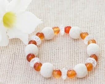 Aromatherapy bracelet, Diffuser bracelet, Natural stone bracelet, Essential oil bracelet, White beaded bracelet, Lava rock bracelet, Gift