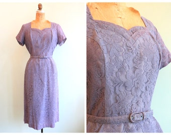 Vintage 1950's Lilac Lace Party Dress | Size Medium