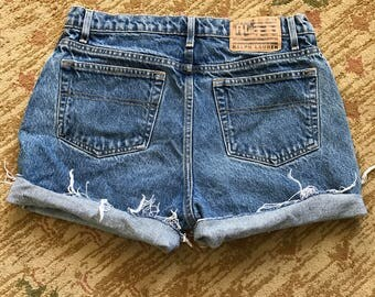 VTG 90s Ralph Lauren POLO Jean Co. Cutoff High Waisted Denim Shorts