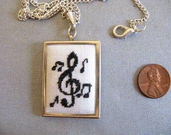 Treble  Clef Pendant, cross stitch pendant, piano pendant, music pendant, cross stitch music -170301