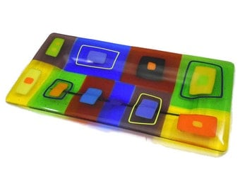 Large Modern Art Glass Tray with Bright Blocks of Yellow, Orange, Blue and Green, 12 x 6 Inches