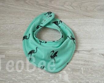 Flamingos design baby bib / dribble bib / bandanna bib /  / girls / tuqoise