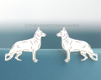 German Shepherd Earrings - Dog breed earrings, German Shepherd studs, Dog Gift, Dog jewelry