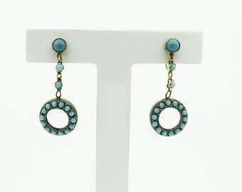 Vintage Turquoise Drop Earrings With A Screw Fitting   SKU942
