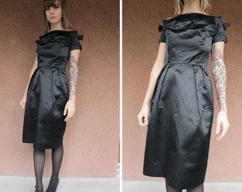 1960's Black Off Shoulder Dress - Black Satin Evening Dress - Xxs