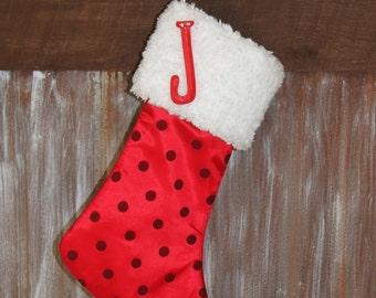 Red Polka Dot White Fur Christmas Stocking, Personalized Monogram Fur Christmas Stockings