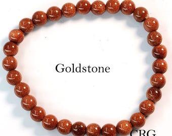 Round 6-7mm GOLDSTONE Beads Stretch Bracelet (BR27DG)