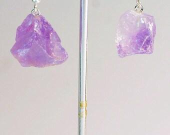 Rough Amethyst Earrings w/ Silver Plated Earwire (ER19BT)