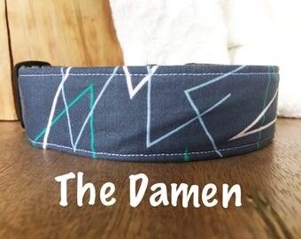 Retro Dog Collar, Geometric Dog Accessory, Blue Dog Collar, Boy Dog Collar, Boy Dog Accessory, Geometric Dog Collar, Trendy Dog Collar