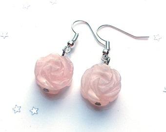 Rose quartz  flower earrings - pink earrings - gift for her - sterling silver earrings - valentine gift