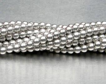 4mm Round Bead, Silver, Druk Bead, (5-04-27000), 100 count