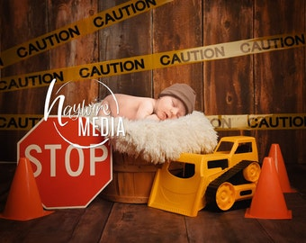 Baby, Toddler, Child, Boy's Construction Photography Digital Backdrop Background Prop with Truck for Photographers - PNG Coverup Layer