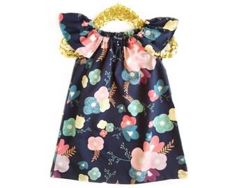 Fall Toddler Dress, Navy Dress, Birthday Dress, Flower Girl Dress, Baby Girl Dress, Navy Girls Dress, Toddler Dress, Floral Dress