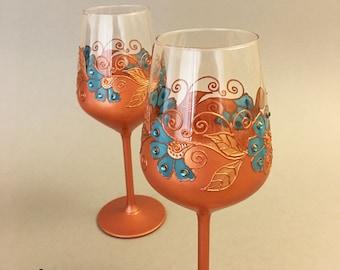 7th Anniversary gift, Copper anniversary gift, Copper glasses, Wine glasses, Wedding glasses
