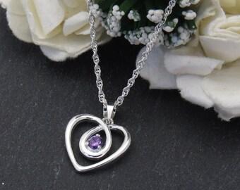 925 Sterling Silver Amethyst Heart Pendant, Amethyst Pendant February Birthstone
