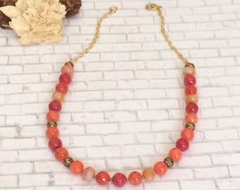 Red Orange Beaded Necklace Red Orange Necklace Colorful Bead Necklace Bright Color Necklace Beaded Short Necklace Beaded Choker Necklace