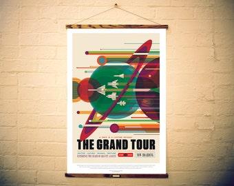 NASA Print Space Travel Giclee Canvas Retro Poster with Oak Frame Hanger option - The Grand Tour - JPL ExoPlanet, Mars Jupiter Saturn