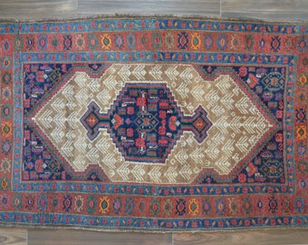 """Vintage Persian Serab Rug With Central Medallion - 4'1"""" x 6'6"""""""