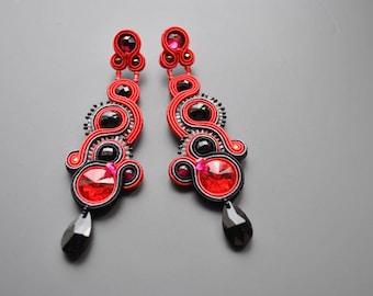 red earrings long dangle earrings long soutache earrings silver 925
