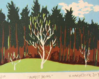 Almost Spring Original Woodblock Print