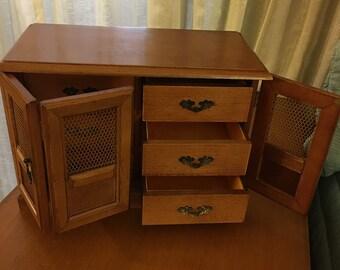 Solid Wood Jewelry Box, 6 Drawers 2 doors 1980s, Vintage Storage Chest, Vanity Decor, Jewelry Organizer