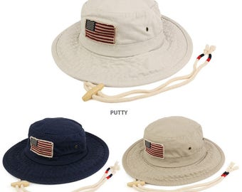 Frayed American Flag Washed Cotton Boonie Hat with Chin Cord (USA52)