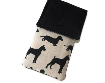 iPhone 7 sleeve black dogs / iPhone 7 Plus Pouch / iPhone 5 bag / iPhone 6 fabric case / iPhone SE  case Flap / ipod touch sleeve case