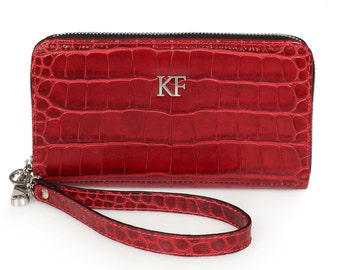 Leather Wallet, Red Leather Womens Wallet, Women leather wallet, Zipper wallet, Clutch wallet, Wallet for her KF-921