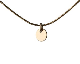 Minimal Dainty Circle 14K Gold Filled Pendant Necklace Layering Necklace Choker Jewellery Handmade Free UK delivery GP32