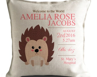 Personalised New Baby Cushion Pillow Cover - Christening Gift - Home Decor Decoration - Cartoon Hedgehog Illustration - 40cm 16 inch
