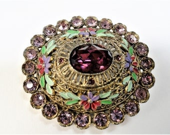 Vintage Little Nemo Brooch, Painted Flowers and Rhinestones