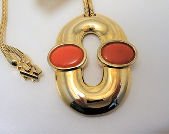Vintage Pierre Cardin Designer Necklace, Modernist Gold Tone with Glass Cabochons
