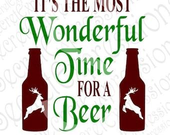Most Wonderful Time Svg, Beer Svg, Christmas Svg, Digital Cutting File, Eps, Png, JPEG, DXF, SVG Cricut, Svg Silhouette, Print File