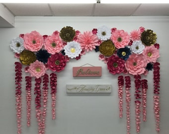 Large Paper Flowers-Backdrop-Wedding Arch-Photo Booth-Flower Wall-Birthday Pary-Nursery Art-Custom-Bridal Shower-Princess- ready to ship