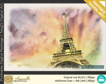 Eiffel Tower Paris, France, Beautiful Travel Digital Painting, Travel Printable Wall Art, Home Decor Architectural art, Watercolor Landscape