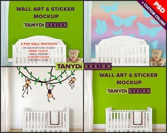 Nursery Wall Art PSD Mockup | Wall Sticker Decal Mockup | Nursery Interior White Crib | Styled Mockup WAN3 | Custom color Smart object
