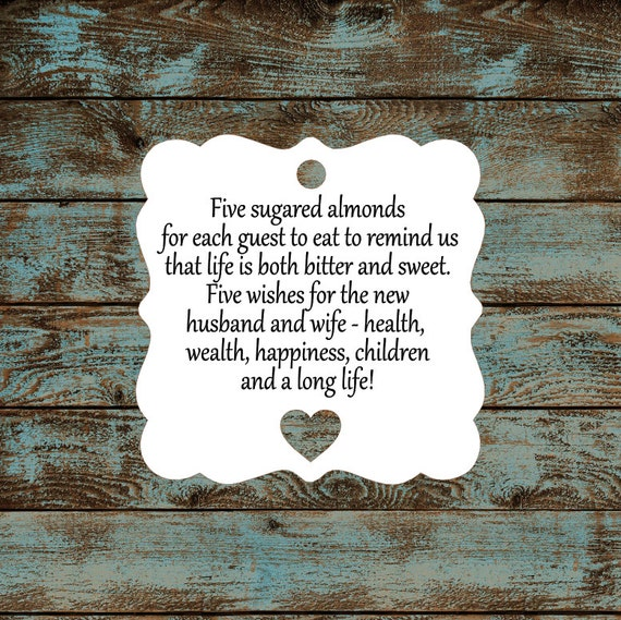 Favor Tags, Jordan Almond Favor Tags, Sugared Almond Favor Tags, Italian Wedding Favor Tags, Square Victorian Heart Cut Out - Qty: 30 Tags