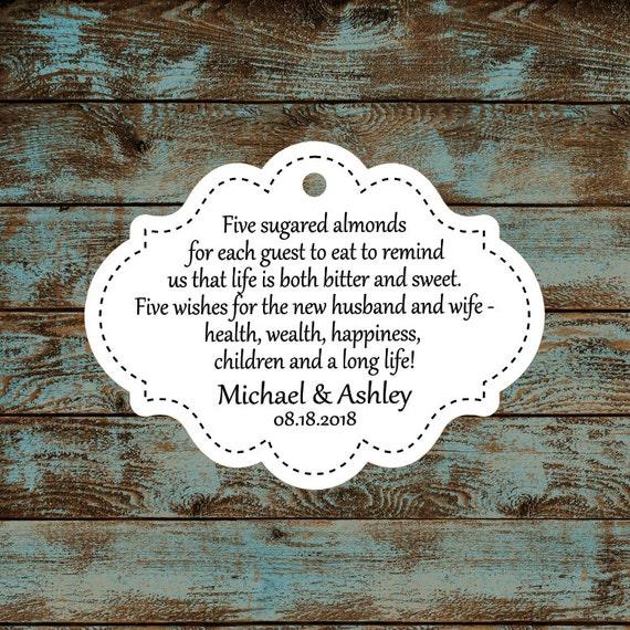 Favor Tags, Jordan Almond Favor Tags, Sugared Almond Favor Tags, Italian Wedding Favor Tags Stitched #679 - Qty: 30 Tags