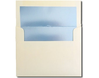 20 Cream with Blue Pearl Lined Envelopes - A2 Size - CLEARANCE 10 CENTS EACH