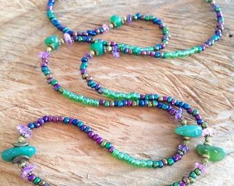 Boho necklace long, boho beaded necklace, green necklace, agate necklace, beaded wrap bracelet, beaded bracelet, gipsy bracelet, gift