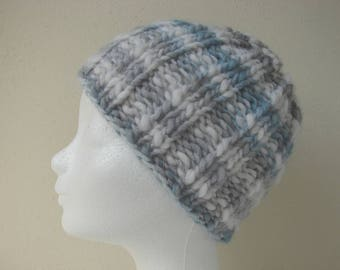 Knit hat soft gray blue white child warm comfortable winter chunky hat kid knit in round thick and thin woolen acrylic effect yarn gray hat